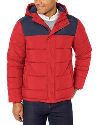 Amazon Essentials Heavyweight Hooded Puffer Coat - Red