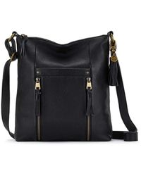 The Sak Womens Ladera Leather Crossbody By Collective - Black