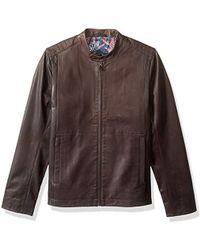 Ted Baker - Mate Modern Slim Fit Leather Biker Jacket, - Lyst