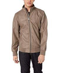 Calvin Klein Faux Leather Bomber Jacket - Brown