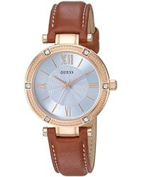 Guess - U0838l2 Dressy Rose Gold-tone Watch With Blue Dial , Crystal-accented Bezel And Genuine Leather Strap Buckle - Lyst