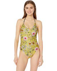 Lucky Brand Halter One Piece Swimsuit - Yellow