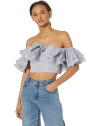 C/meo Collective Together Again Strapless Off The Shoulder Ruffle Top - Blue