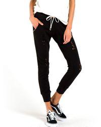 n:PHILANTHROPY Womens Gravity Slim Casual Mid Rise Drawstring Deconstructed Sweatpants - Black
