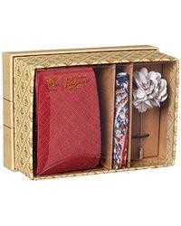 Original Penguin Messner 3-piece Solid Tie, Pocket Square & Lapel Pin Box - Red