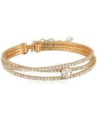Napier Gold/crystal Oval Coil Flex Bracelet - Metallic