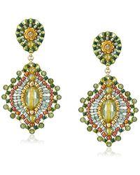 Miguel Ases - Small Green Jade Lotus Drop Earrings - Lyst