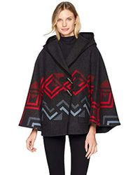 Pendleton Wool Hooded Shawl Collar Cape - Black