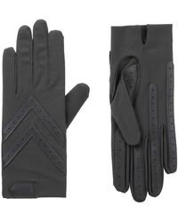 Isotoner Spandex Shortie Gloves With Leather Palm Strips - Gray