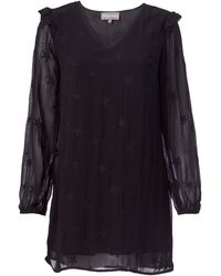 Michael Stars - Star Embroidered Georgette Long Sleeve V-neck Shift Dress - Lyst