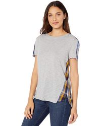 Vince Camuto Uptown Plaid Mix Media Tee - Gray