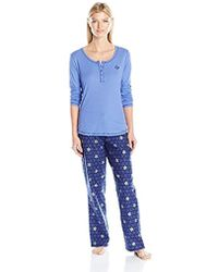 Tommy Hilfiger - Henley Top And Flannel Pant Bottom Pajama Set Pj - Lyst