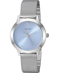 Guess Stainless Steel Mesh Bracelet Watch with Sky Blue Genuine Diamond Dial. Color: Silver-Tone - Blau