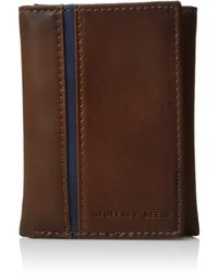 Geoffrey Beene Stitched Trifold Wallet - Brown
