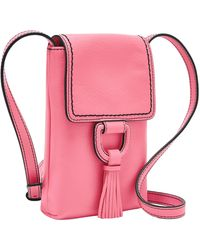 Fossil Bobbie Leather Phone Wallet Crossbody - Pink
