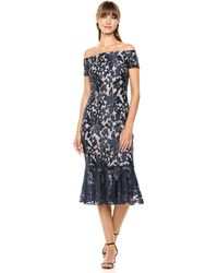 Calvin Klein Lace Off-the-shoulder Ruffle Midi Dress - Blue