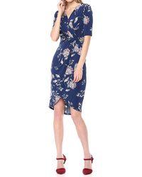 Ivanka Trump Matte Jersey Printed 3/4 Sleeve Knot Tie Faux Wrap Dress - Blue