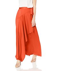 BCBGMAXAZRIA Asymmetrical Satin Maxi Wrap Skirt - Red