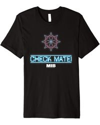Perry Ellis In Black Check Mate Neon Logo Premium T-shirt - Blue