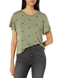 Monrow Vintage Crew W/all Over Star Embroidery - Green