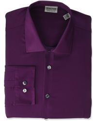 Kenneth Cole Reaction Dress Shirt Extra Slim Fit Stretch Stay-crisp Collar Solid - Purple