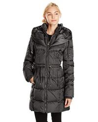 Betsey Johnson - Long Puffer Coat With Cinched Waist - Lyst