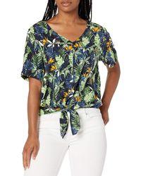 28 Palms - 100% Rayon Hawaiian Tie Front Aloha Blouse - Lyst