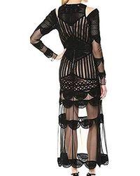 Nicole Miller Beaded Crochet Gown - Black