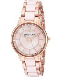 Anne Klein Ak/3344lprg Premium Crystal Accented Rose Gold-tone And Light Pink Ceramic Bracelet Watch