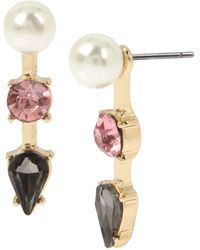 Betsey Johnson (gbg) Stone & Pearl Front Back Earrings - Pink