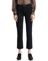 PAIGE Jacqueline Straight Leg Jeans With Raw Hem - Black