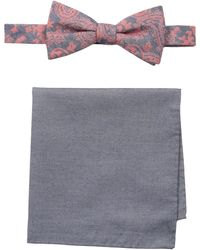 Tommy Bahama 100% Silk Bow Tie & Solid Pocket Square Set - Red