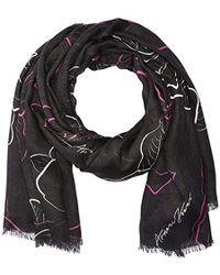 Armani Jeans - Rose Print Knit Scarf - Lyst