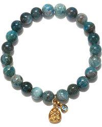 Satya Jewelry - Apatite And Blue Topaz Gold Ganesha Stretch Bracelet, One Size - Lyst