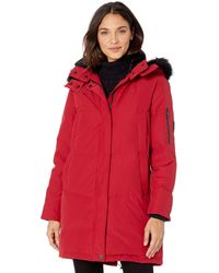 Vince Camuto Long Heavyweight Warm Winter Coat Parka - Red