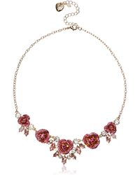 Betsey Johnson Glitter Rose Frontal Necklace - Pink