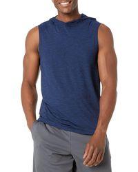Amazon Essentials Tech Stretch Sleeveless Performance Hoodie - Blue