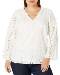 Jessica Simpson Plus Size Celeste Eyelet Bell Sleeve Top - White