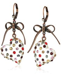 Betsey Johnson Multi Lucite Heart Drop Earrings - Multicolor