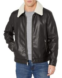 Tommy Hilfiger Classic Faux Leather Jacket With Removable Sherpa Collar - Black