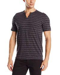 Kenneth Cole Reaction - Short Sleeve Stripe Eyelet Henley Shirt - Lyst