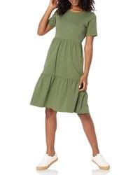 Amazon Essentials Short-sleeve Crewneck Tiered Dress - Green
