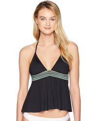 Kenneth Cole Reaction Flounce Tankini Swimsuit Top - Black