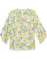 Rafaella Lemonade Print Bracelet Sleeve Poplin Top - White