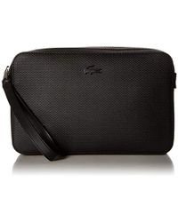 Lacoste Chantaco Leather Zip Pouch With Strap - Black