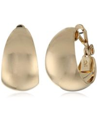 "Anne Klein - ""classics"" Gold-tone Band Hoop Earrings - Lyst"
