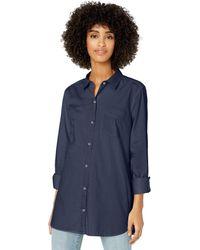 Goodthreads Lightweight Twill Long-Sleeve Button-Front Shirt Dress-Shirts - Blu