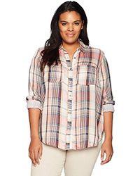 Lucky Brand Womens Plus Size Boyfriend Button Up Plaid Shirt in Multi