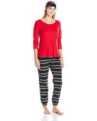 Kensie Long Pant, Long-sleeve Top, And Eye Mask Three-piece Pajama Set - Black