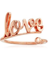 ALEX AND ANI Ring Wrap Love Stackable Sterling Silver With Rose Gold Plate Ring - Metallic